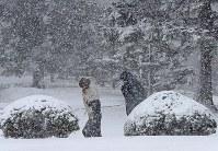 雪が吹き付ける中、先を急ぐ人たち=札幌市中央区で2017年4月13日午後、梅村直承撮影