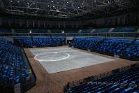 五輪ではバスケットボールの会場だったアリーナ1の内部=ブラジル・リオデジャネイロの五輪公園で2017年2月17日午後0時38分、朴鐘珠撮影