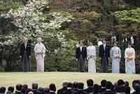 From left, Emperor Akihito, Empress Michiko, Crown Prince Naruhito, Crown Princess Masako, Prince Akishino, Princess Kiko and their daughter Princess Mako are seen at the Akasaka Imperial Gardens in Tokyo's Minato Ward, on April 20, 2017. (Mainichi)