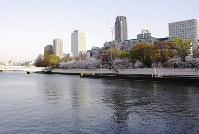 黒岩重吾さんが長期入院していた病院跡地に近い水晶橋から川をのぞむ。何を見ていたのだろうか=大阪市北区で、岸桂子撮影