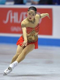 女子フリーで演技する樋口新葉=東京・国立代々木競技場で2017年4月22日、手塚耕一郎撮影