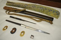 Yoshida Shoin's dagger and other related items are seen here at Maebashi City Hall on March 28, 2017. (Mainichi)