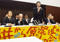 弁論終了後、会見する原告弁護団の島田広弁護士=金沢市丸の内で、日向梓撮影