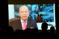 「恩人」ウィルバー・ロス。2014年に開かれたアメリカ大和証券の式典にビデオメッセージを寄せた=大和証券提供