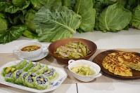 コンテスト参加者が作った春キャベツ料理=三重県立久居農林高等学校2017年4月25日、森田采花撮影