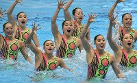 Japan's synchronized swimming team, which finished first in the technical routine event, performs during the Japan Open Synchronized Swimming Championships at Tokyo Tatsumi International Swimming Center, on April 28, 2017. (Mainichi)