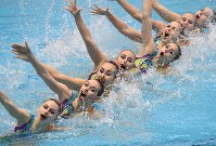 Kazakhstan's synchronized swimming team, which came third in the technical routine competition, is seen here at the Japan Open Synchronized Swimming Championships at Tokyo Tatsumi International Swimming Center, on April 28, 2017. (Mainichi)