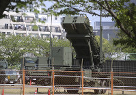 A PAC-3 Patriot missile unit is deployed against North Korea's missile firing at the Defense Ministry in Tokyo, on April 29, 2017. (AP Photo/Koji Sasahara)