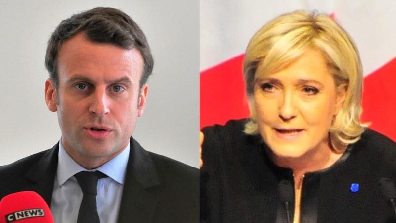いよいよ決選投票。マクロン候補(左)とルペン候補