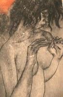 虫食い跡の白い部分が点在する「原爆の図第8部 救出」の右端に描かれた少女