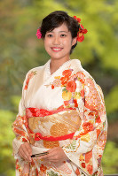 University student Sayo Tomita poses for photographs on April 11, 2017, after she was announced as the saio-dai, or heroine, of this year's Aoi Matsuri festival. (Mainichi)