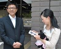遺影や花梨ちゃんが好きだったぬいぐるみを持参し大西市長と面会した父貴士さん(左)と母さくらさん=熊本市中央区の熊本市役所で2017年5月14日、城島勇人撮影