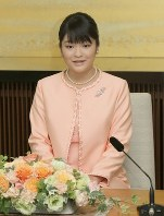 Princess Mako speaks at a news conference at her residence in Tokyo's Minato Ward on Oct. 16, 2011. (Pool photo)