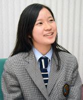 第20代高校生平和大使に選ばれた船井木奈美さん=広島県福山市で、真下信幸撮影