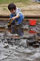 スコップで泥をつついてみる幼児=千葉県市川市で