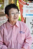 石見銀山ガイドの会元会長の和上豊子さん=島根県大田市大森町で、関谷徳撮影