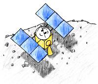はやぶさ君は2005年11月に小惑星イトカワに2度着陸しました。そのとき、小さな小さな微粒子をつかまえることに成功しました=イラスト・小野瀬直美