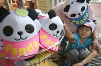 A little boy and his father check out panda souvenirs at Ueno Zoological Gardens on June 13, 2017, the day after a panda at the zoo gave birth to a cub. (Mainichi)