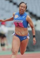 関東学生対校選手権女子100メートル優勝した日体大の君嶋愛梨沙=日産スタジアムで、和田大典撮影