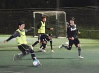 日本リーグ初代王者を目指すさいたまサイコロの選手たち。戦術理解や判断力、体力を同時に高める練習メニューをこなす=さいたま市桜区西堀9のフットサルガーデンジョモニスタ南与野で