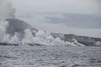 西之島から流出した溶岩が海に流れ込み、海岸が白く煙っている=気象研究所提供