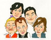 前列左から香取慎吾さん、中居正広さん、木村拓哉さん。後列左から稲垣吾郎さん、草なぎ剛さん 絵=所ゆきよしさん