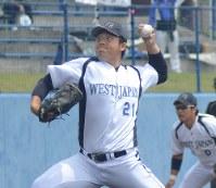 リーグ戦でJFE西日本を3安打完封したJR西日本・西川=真下信幸撮影