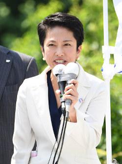 民進党の蓮舫代表=東京都中野区で2017年6月23日午前10時15分、中村藍撮影