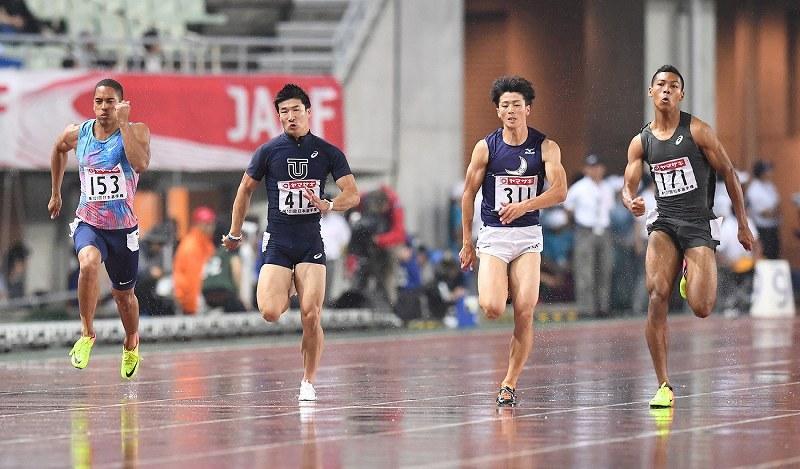 陸上:日本選手権男子100 10秒05...