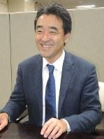 インタビューに答えるカインズの土屋裕雅社長=東京都内で2017年6月21日、竹地広憲撮影