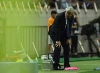 【ハリルホジッチ監督=2015年~18年】サッカーW杯2次予選、シンガポール戦の試合終了間際、ベンチ前でひざに手を置くハリルホジッチ監督=埼玉スタジアムで2015年6月16日、宮間俊樹撮影