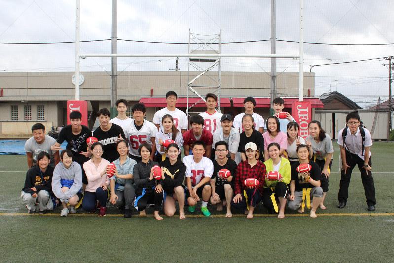 「フラッグフットボール」に初挑戦 中国・華中師範大学の体育学部生