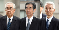 From right to left, former TEPCO Chairman Tsunehisa Katsumata and former vice presidents Ichiro Takekuro and Sakae Muto. (Mainichi)