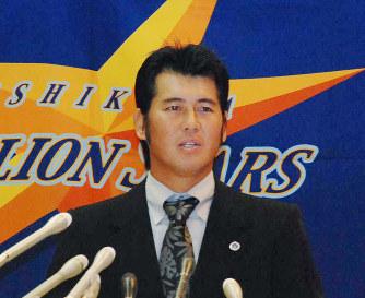 2009年10月、石川ミリオンスターズ監督に就任し会見する森慎二さん=金沢市丸の内で、宮嶋梓帆撮影