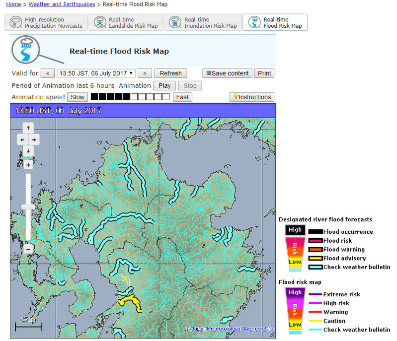 JMA Issues Emergency Weather Warning For Fukuoka Oita Prefectures - Flood check map