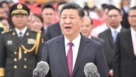 中国の習近平国家主席=香港国際空港で2017年6月29日、福岡静哉撮影