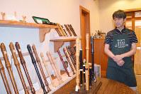 つややかに仕上げられたリコーダー。音域によって、何種類もある=大阪市住之江区安立3の竹山木管楽器製作所で、亀田早苗撮影