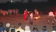 五稜郭を舞台に演じられた「函館野外劇」=函館市の五稜郭公園で