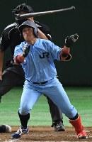 【大阪市(NTT西日本)-広島市(JR西日本)】九回表広島市2死一、二塁、小原が逆転3点本塁打を放つ=東京ドームで2017年7月17日、平川義之撮影