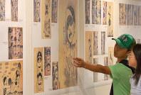 原爆資料館で始まった「はだしのゲン」の扉絵展=広島市中区で2017年7月21日午前9時45分、山田尚弘撮影