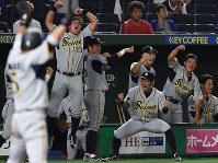 【東京都(東京ガス)-大垣市(西濃運輸)】一回裏西濃運輸2死一、三塁、阪本の先制2点二塁打に喜びを爆発させる西濃運輸の選手たち=東京ドームで2017年7月21日、平川義之撮影