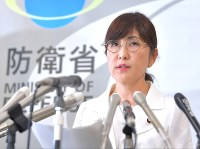 Defense Minister Tomomi Inada speaks at a news conference at the Defense Ministry in Shinjuku Ward, Tokyo, on July 21, 2017. (Mainichi)