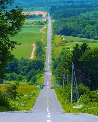 大自然の中でまっすぐな道路が延びる北海道上富良野町の「ジェットコースターの路」=SNAPLACE提供