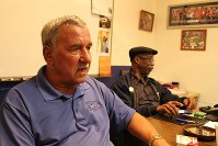 Former United Steelworkers local chapter head Chuck Jones, left, speaks during an interview as his successor Robert James listens, at the union office in Indianapolis, Indiana, on July 18, 2017. (Mainichi)