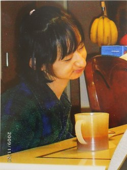 In this photo taken Nov. 21, 2009, one of the victims of the stabbing at a care facility in Sagamihara is seen enjoying her morning coffee in her favorite cup while in her pajamas. (Photo courtesy of her family)