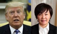 US President Donald Trump (AP) and Japanese Prime Minister's wife, Akie Abe (Mainichi)