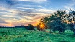 農場の彼方に沈む夕日=サウスカロライナ州