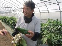 みずみずしく成長した自慢の野菜を手に、エビベジの魅力について語る海老原さん=下野市の海老原ファームで