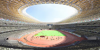 This computer image produced jointly by Taisei Corp., Azusa Sekkei Co. and Kengo Kuma and Associates depicts the inside of the new National Stadium. (Image courtesy of the Japan Sports Council)