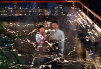参拝者が手にするろうそくの炎が光の筋となって御手洗池に浮かび上がった=京都市左京区の下鴨神社で、小松雄介撮影